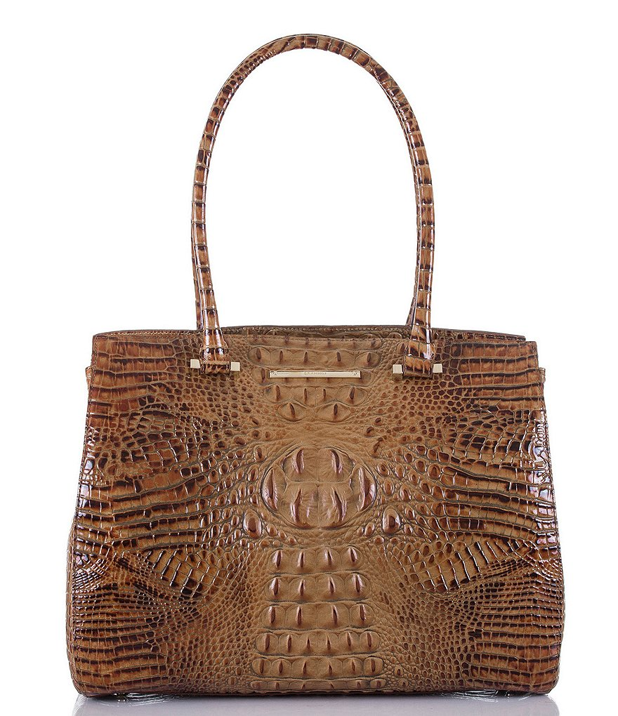 Brahmin Toasted Almond Collection Alice Crocodile-Embossed Work Tote
