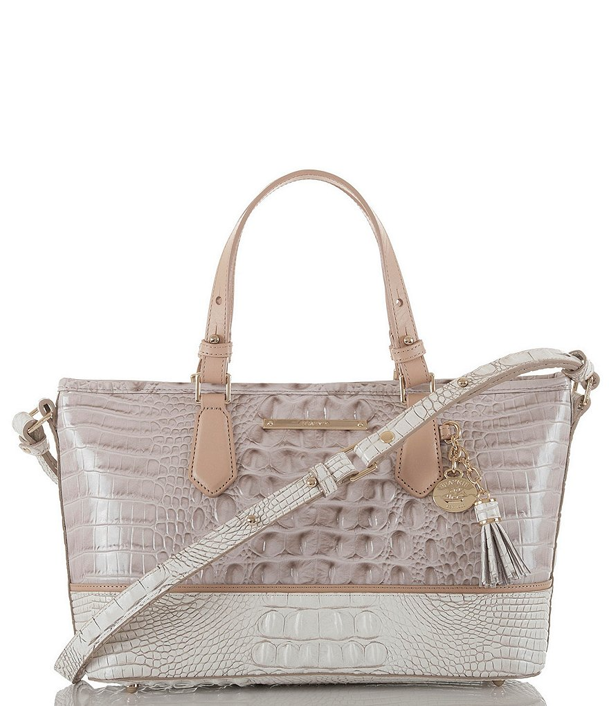 Brahmin Tri-Texture Collection Mini Asher Tasseled Colorblock Tote