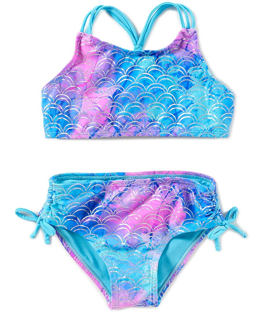 Breaking Waves Big Girls 7-16 Mermaid Scale Print High Neck Top & Hipster Bottoms 2-Piece Swimsuit