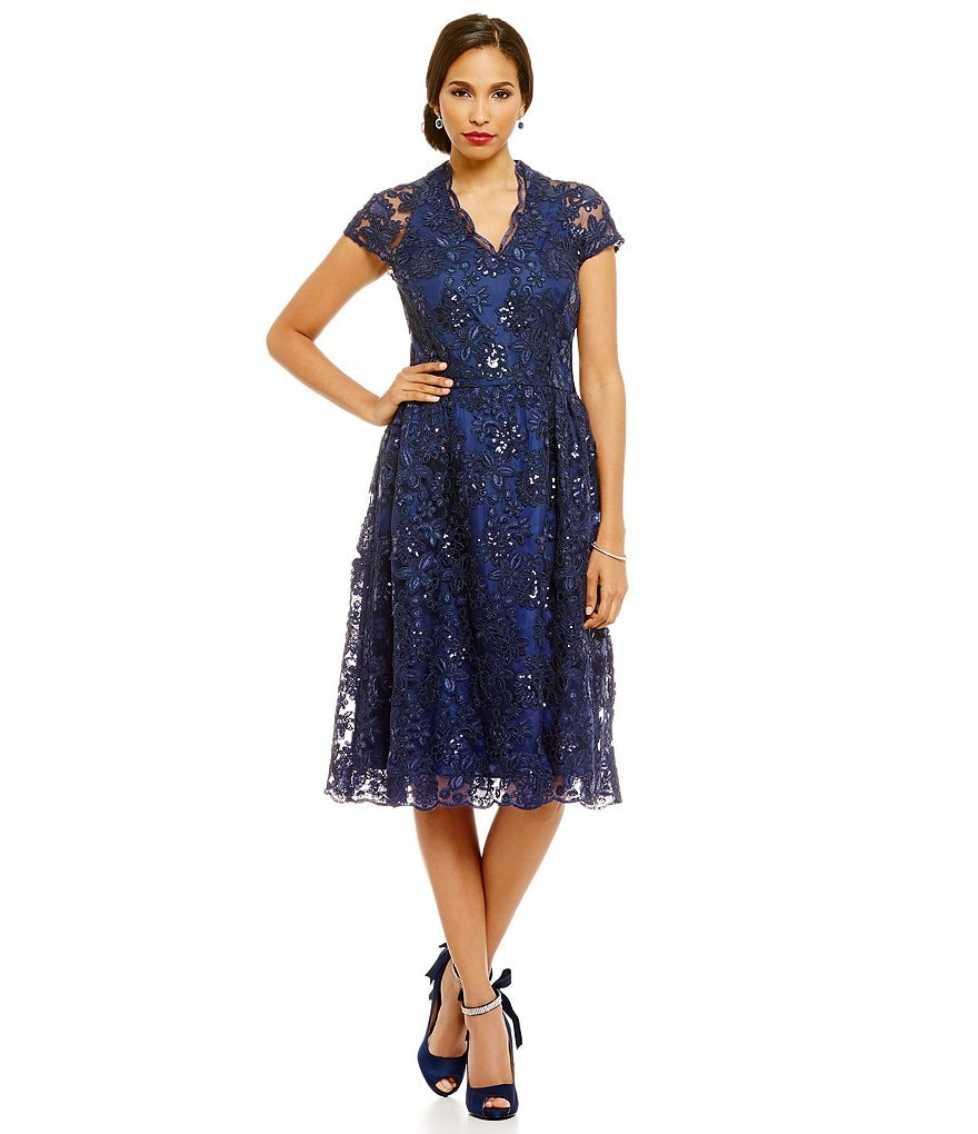 Brianna Cap Sleeve Lace Scallop Hem Embroidered Sequin A-Line Dress