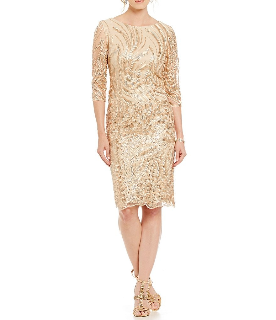 Brianna Embroidered Sequin Lace Dress