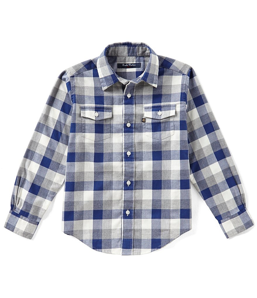 Brooks Brothers Little/Big Boys 4-20 Heather Plaid Button Front Shirt