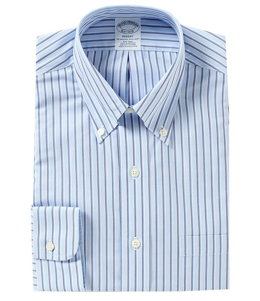 Brooks Brothers Non-Iron Regent Fit Fitted-Classic Fit Striped Button-Down Collar Dress Shirt