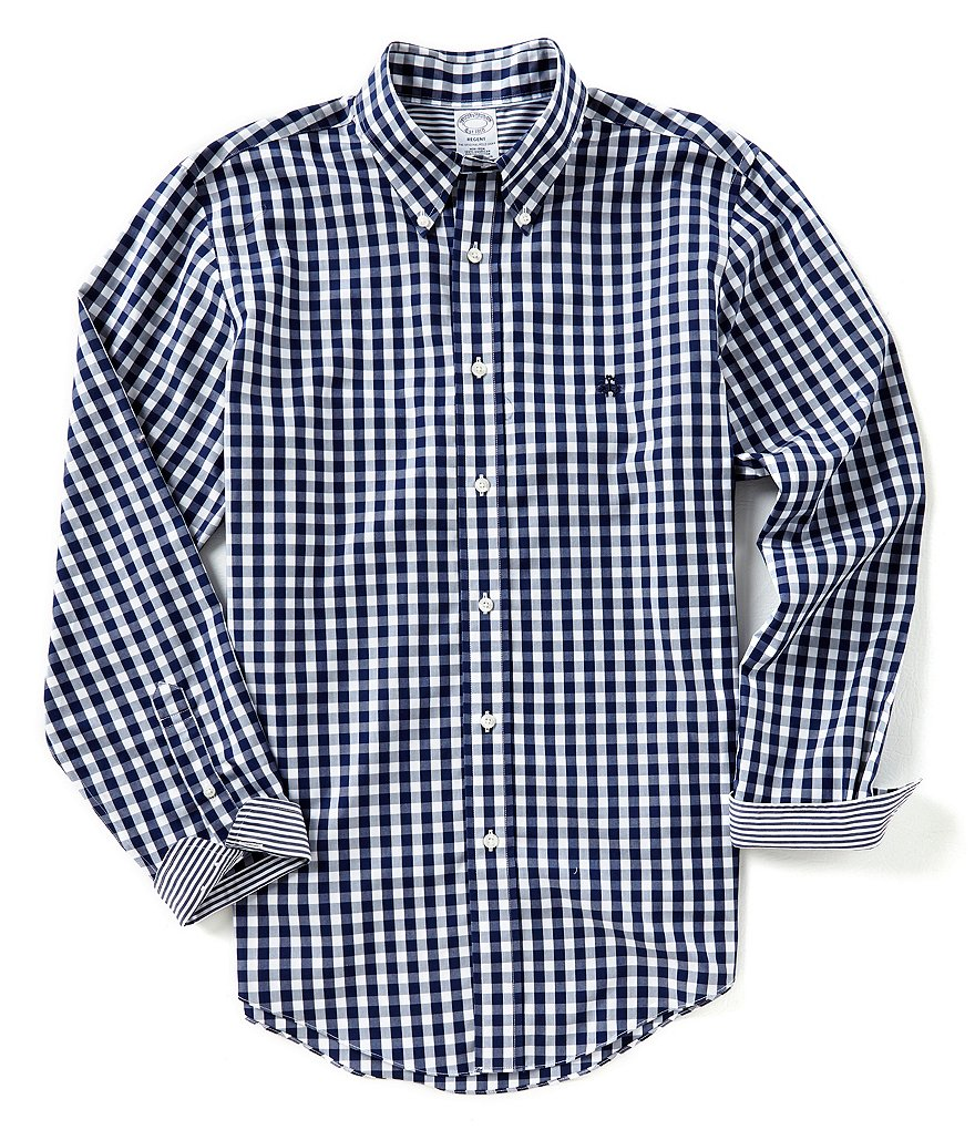 Brooks Brothers Non-Iron Gingham Regent-Fit Long-Sleeve Woven Shirt