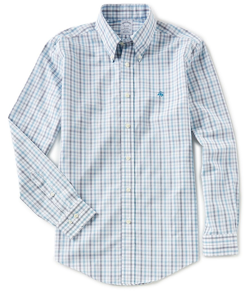 Brooks Brothers Non-Iron Glen Plaid Regent-Fit Yarn Dye Long-Sleeve Woven Shirt