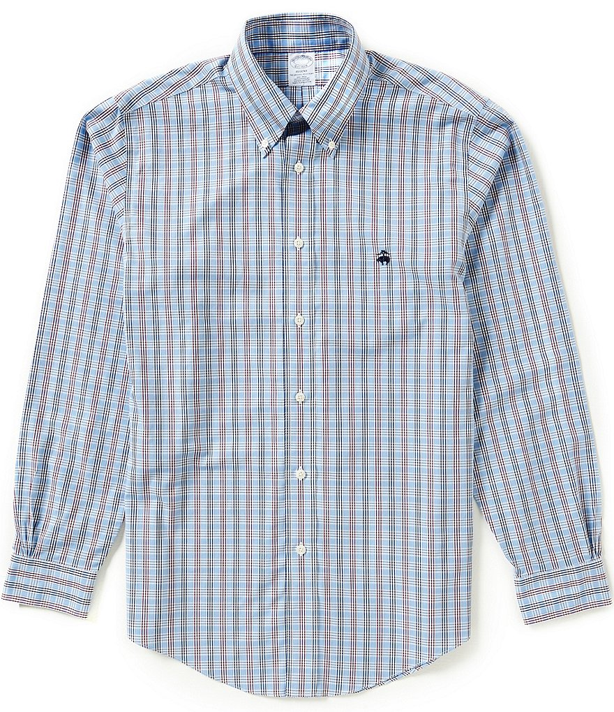 Brooks Brothers Non-Iron Regent Fit Check Poplin Long-Sleeve Woven Shirt