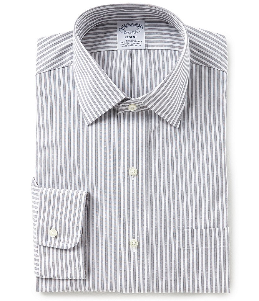 Brooks Brothers Non-Iron Regent Fit Spread-Collar Vertical Striped Dress Shirt