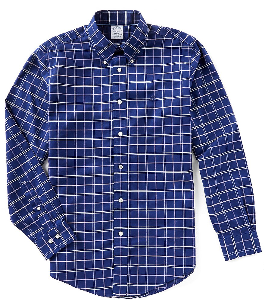Brooks Brothers Non-Iron Regent-Fit Plaid Yarn-Dye Oxford Long-Sleeve Woven Shirt