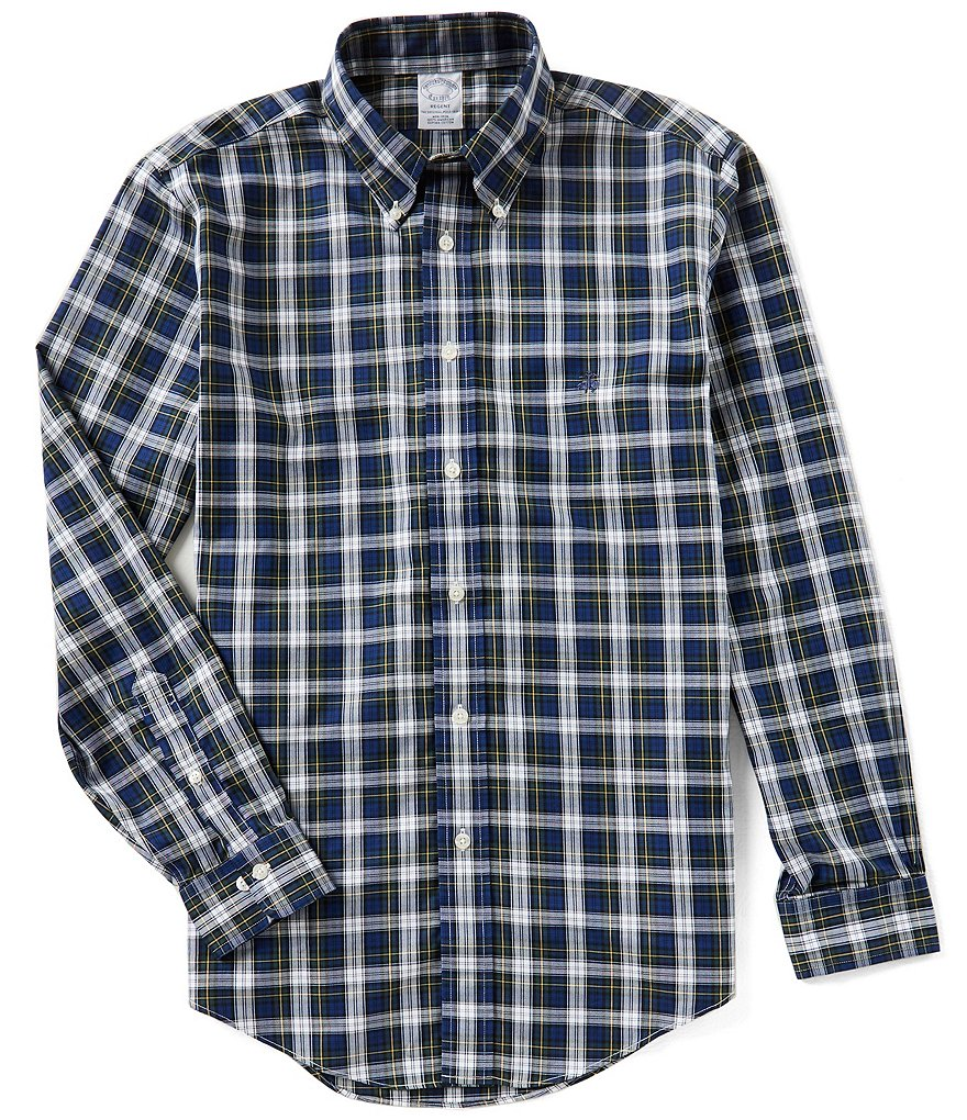 Brooks Brothers Non-Iron Regent-Fit Button Down Tartan Plaid Long-Sleeve Woven Shirt