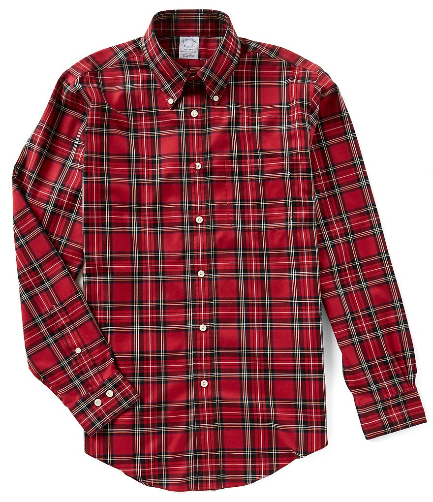 Brooks Brothers Non-Iron Regent-Fit Large Tartan Plaid Long-Sleeve Woven Shirt