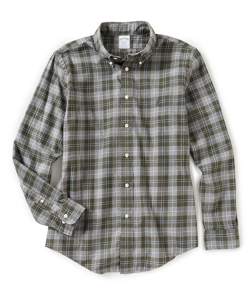 Brooks Brothers Regent-Fit Lightweight Flannel Plaid Long-Sleeve Woven Shirt