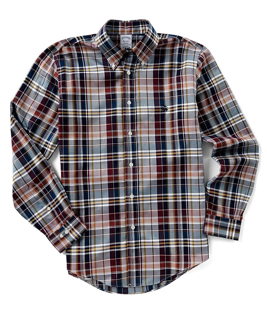 Brooks Brothers Regent-Fit Plaid Logo Long-Sleeve Woven Shirt