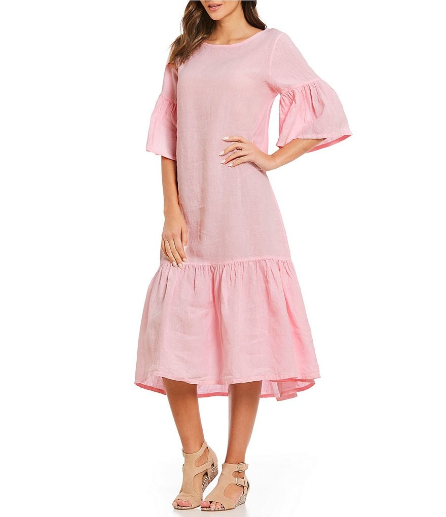 Bryn Walker Seraphina Gathered Bell Sleeve Flounce Hem Midi Dress