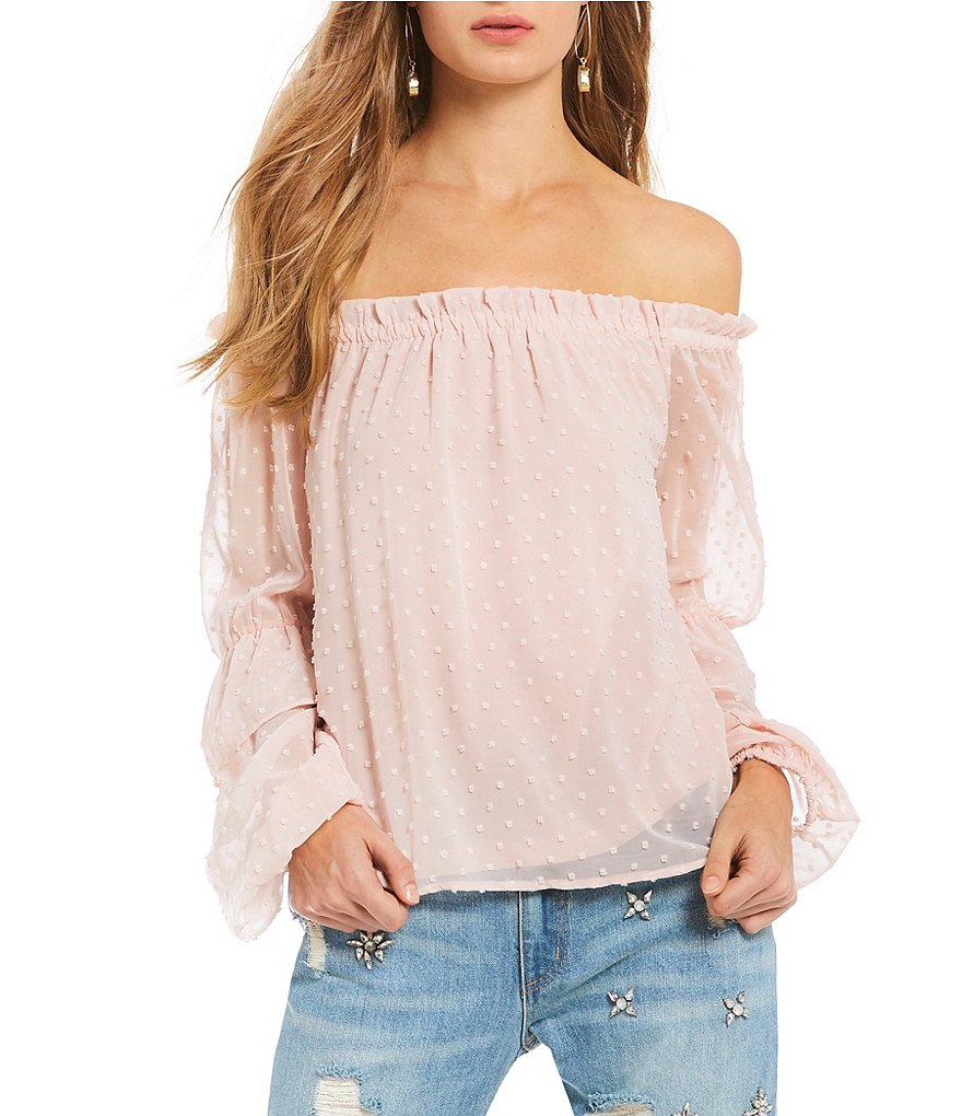 Buffalo by David Bitton Off-the-Shoulder Ruffle Bubble Sleeve Peasant Blouse