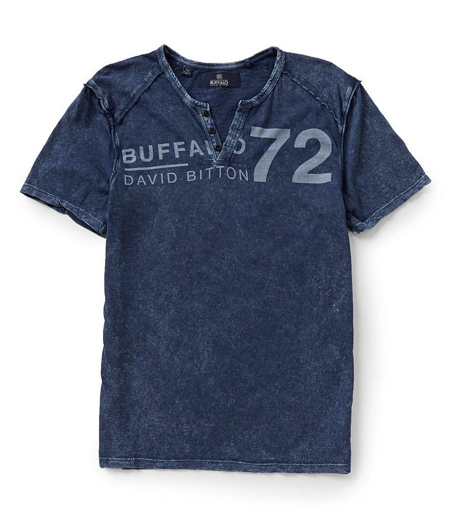 Buffalo David Bitton Narwayne Short-Sleeve Split V-Neck Graphic Tee