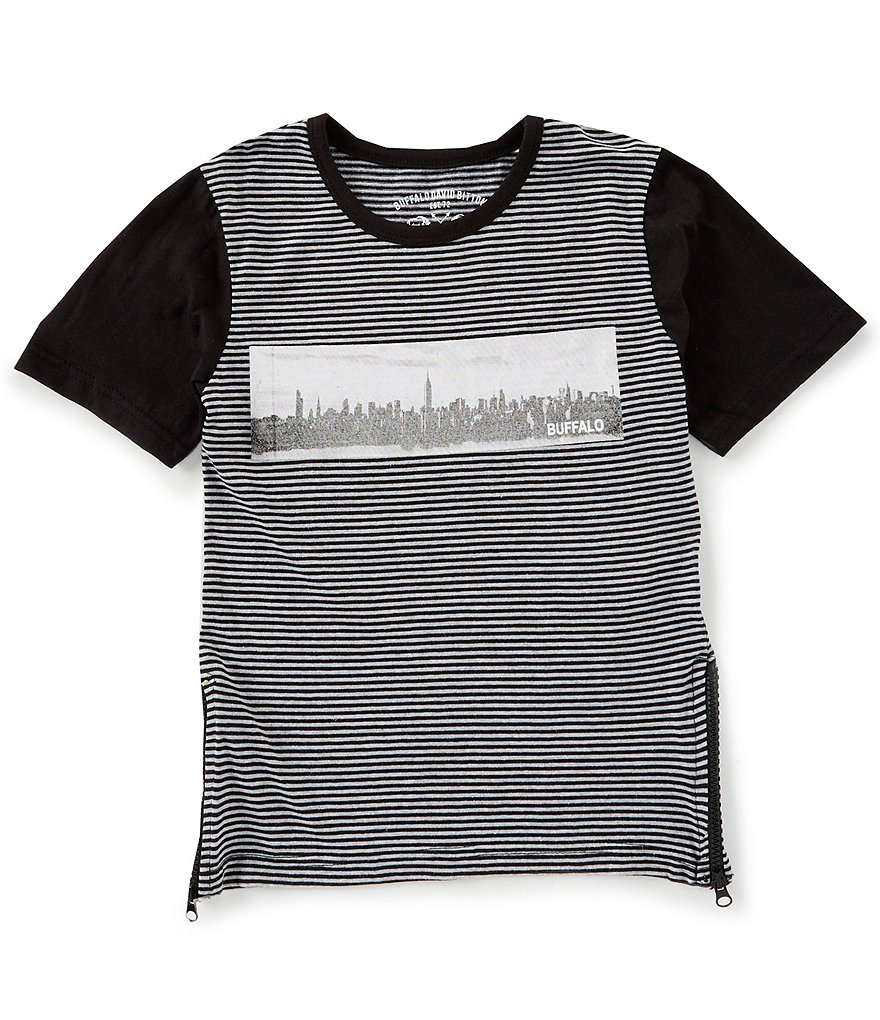 Buffalo David Bitton Big Boys 8-20 Short-Sleeve Striped Side-Zip Graphic Tee