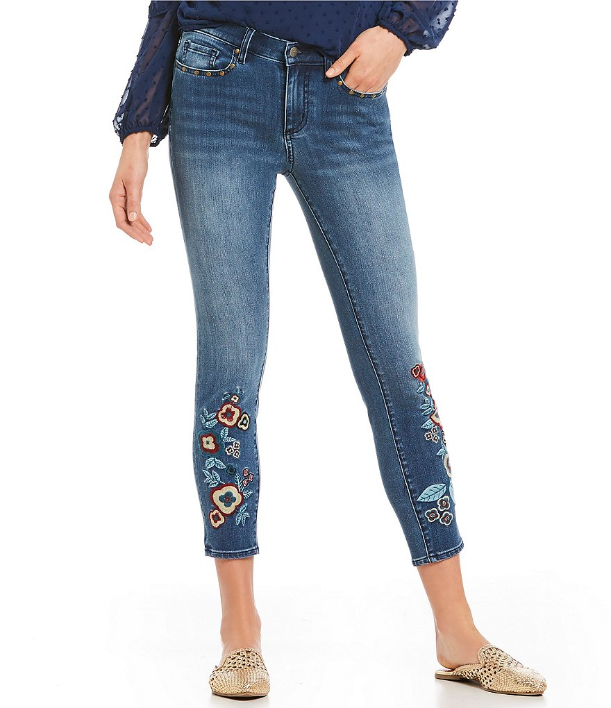 Buffalo David Bitton Floral Embroidered Faith Skinny Jeans