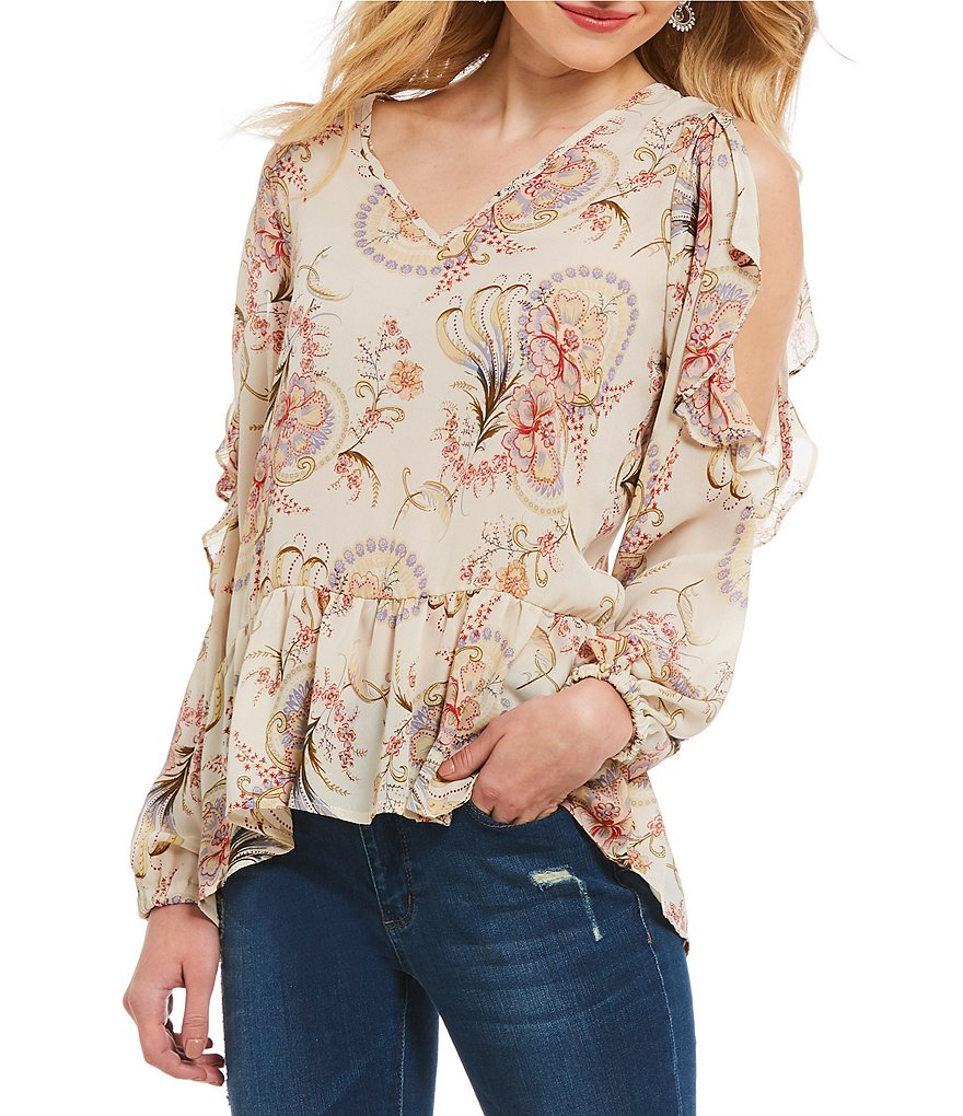 Buffalo David Bitton Floral Ruffle Around Cold Shoulder Peasant Top