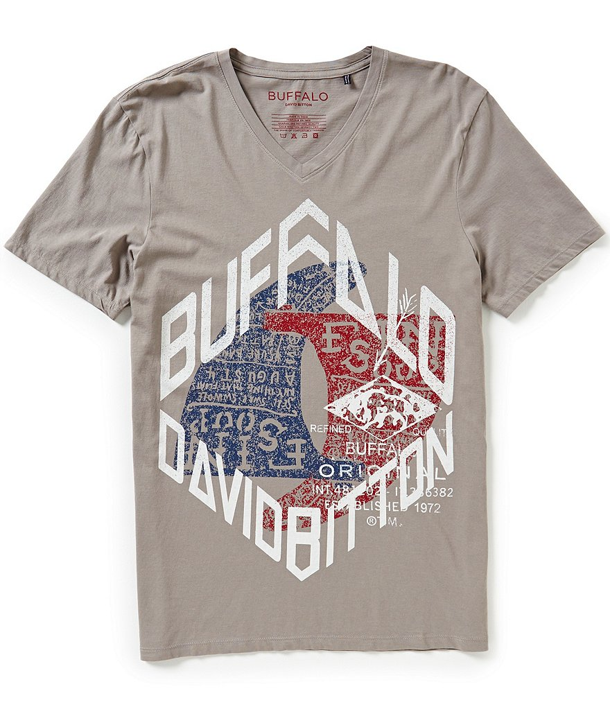 Buffalo David Bitton Nirey Short-Sleeve V-Neck Graphic Tee