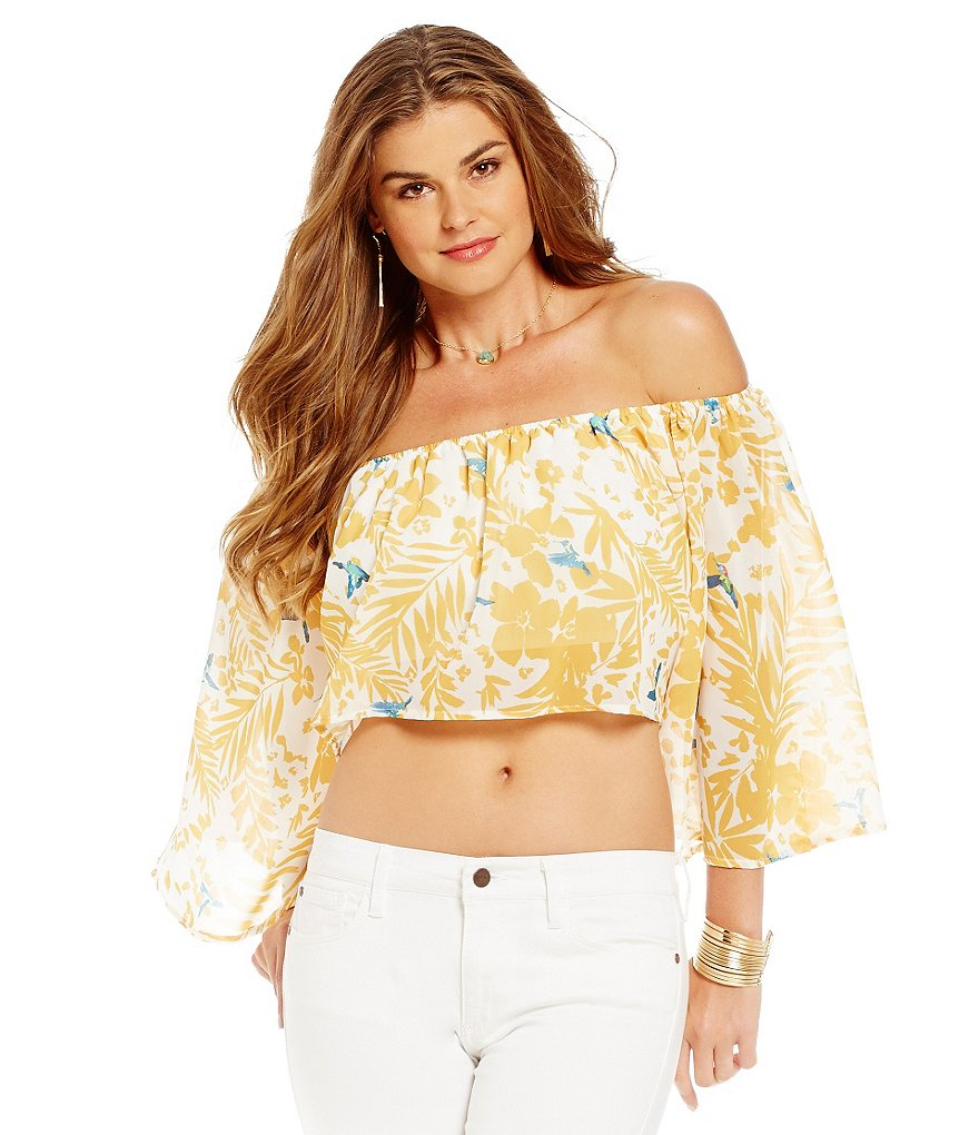 Buffalo David Bitton Off-the-Shoulder Crop Top