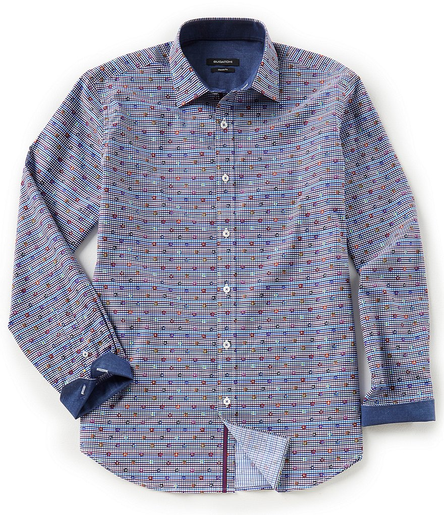 Bugatchi Classic-Fit Floral Check Long-Sleeve Woven Shirt