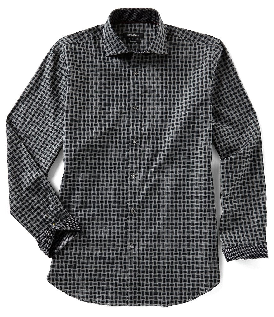 Bugatchi Classic-Fit Rectangle Print Long-Sleeve Woven Shirt