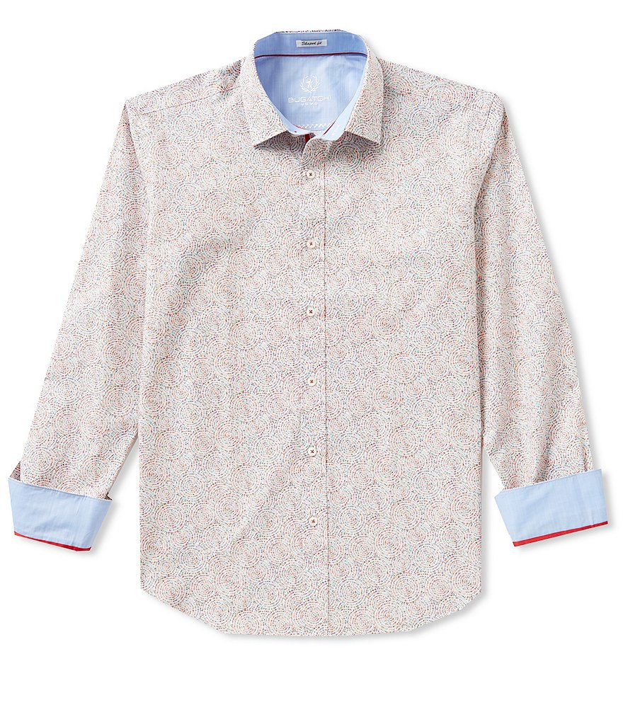 Bugatchi Long-Sleeve Classic-Fit Repeating Print Woven Shirt