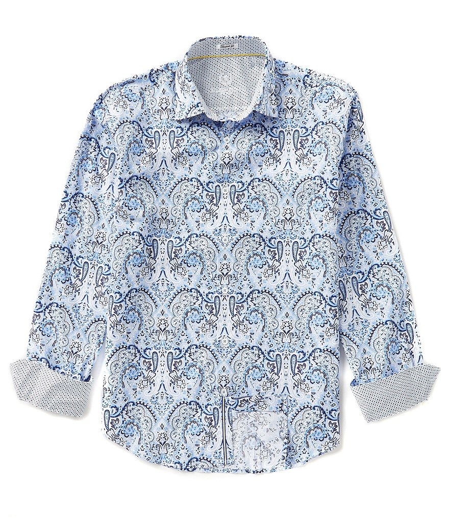 Bugatchi Long-Sleeve Shaped-Fit Repeating Paisley Print Woven Shirt
