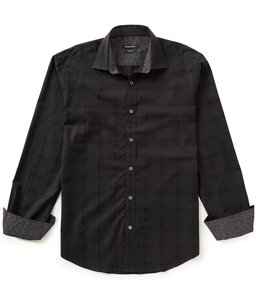 Bugatchi Long-Sleeve Tonal Plaid Jacquard Woven Shirt