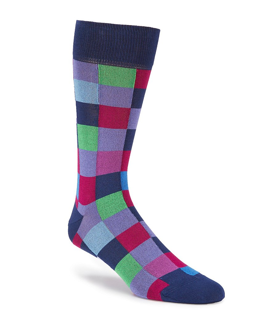 Bugatchi Mercerized Color Block Mid-Calf Socks