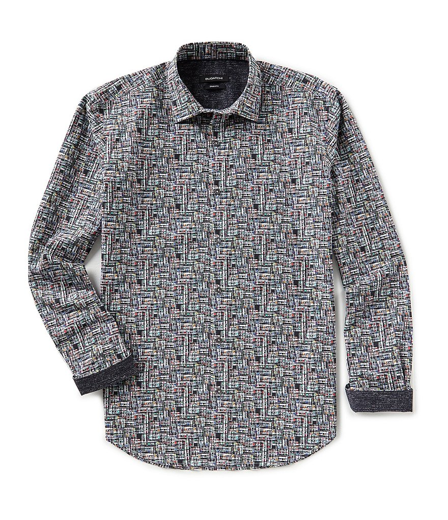 Bugatchi Shaped-Fit Black Tape Print Long-Sleeve Woven Shirt
