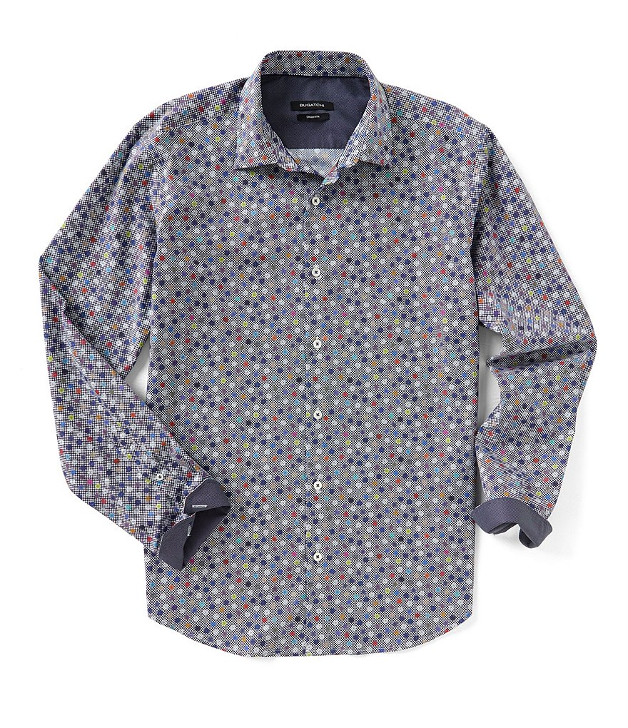 Bugatchi Shaped-Fit Floral Polka Dot Print Long-Sleeve Woven Shirt