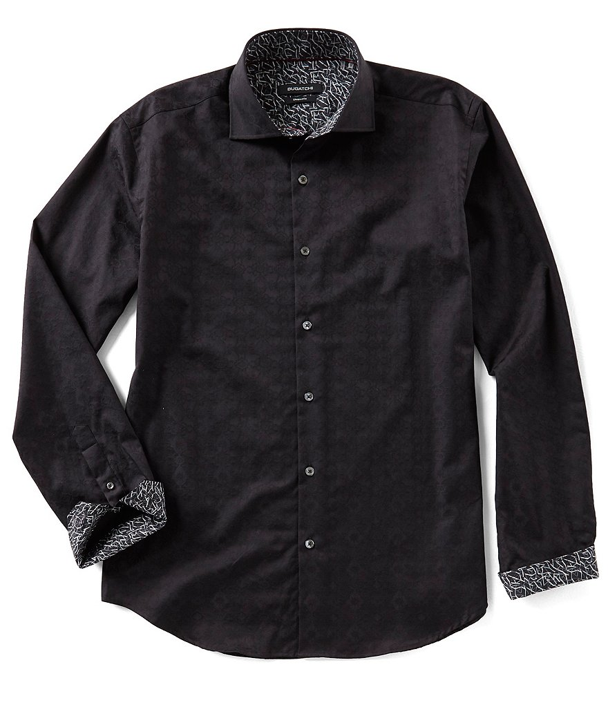 Bugatchi Shaped-Fit Jacquard Long-Sleeve Woven Shirt