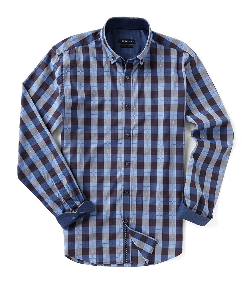 Bugatchi Shaped-Fit Multi-Check Long Sleeve Woven Shirt
