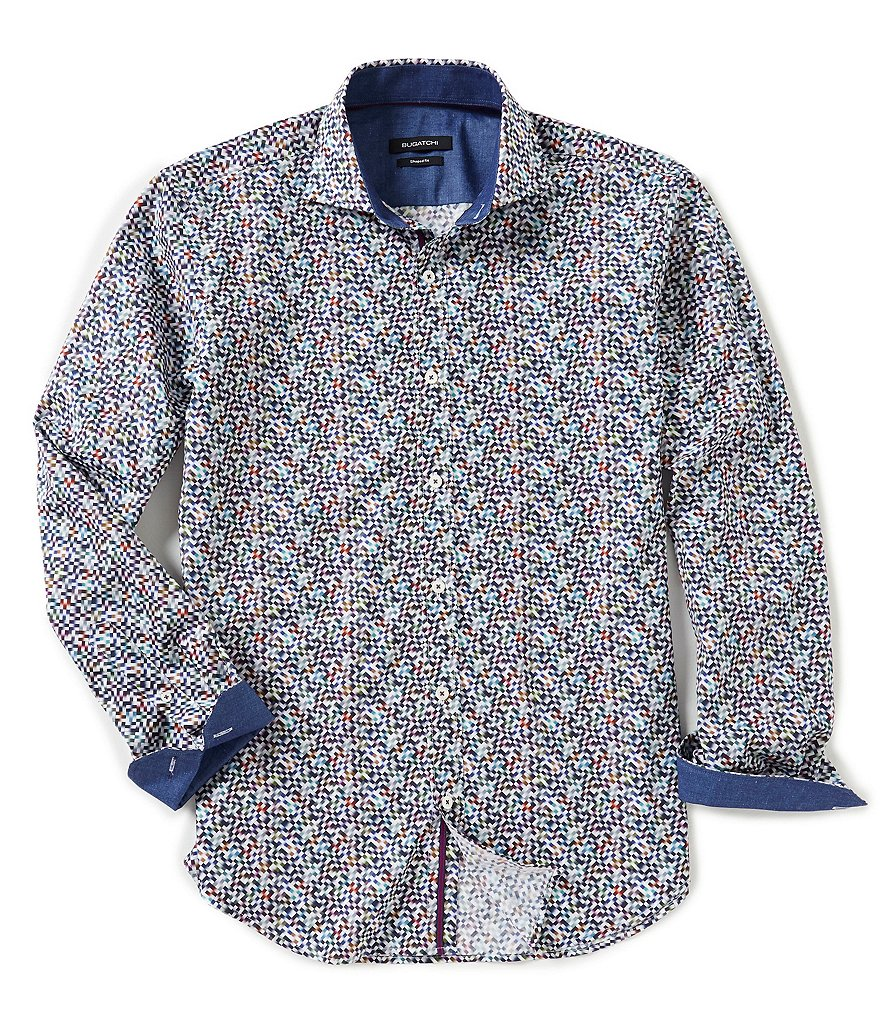 Bugatchi Shaped-Fit Multi-Square Print Long-Sleeve Woven Shirt