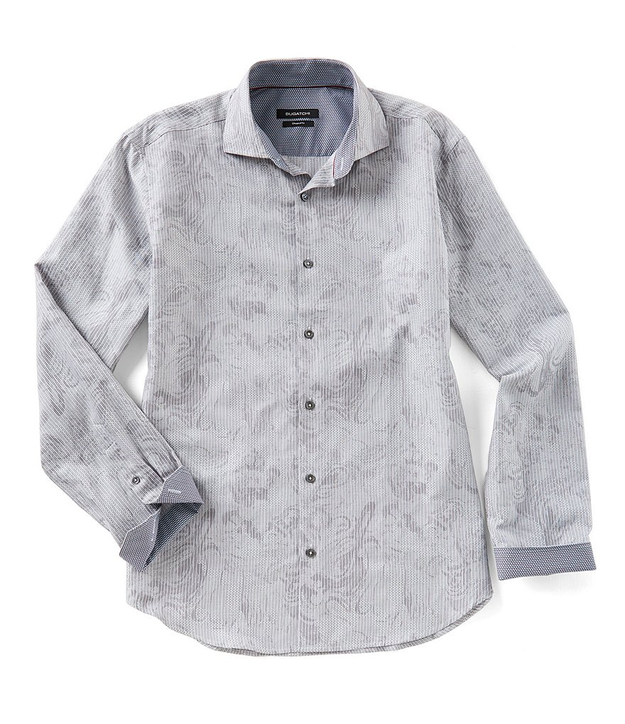 Bugatchi Shaped-Fit Stripe Paisley Long-Sleeve Woven Shirt