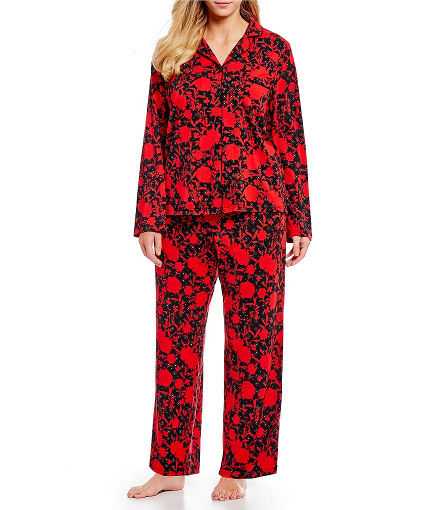 Cabernet Plus Shadow Floral Print Knit Pajamas
