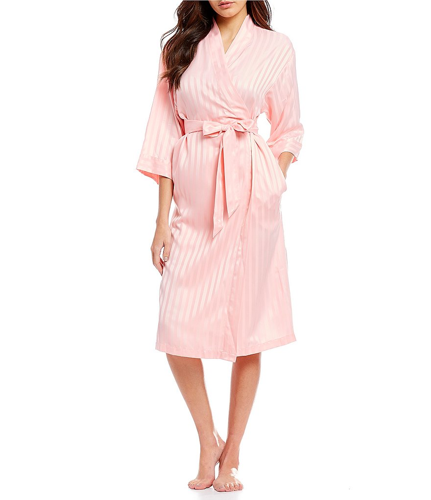 Cabernet Striped Satin Wrap Robe