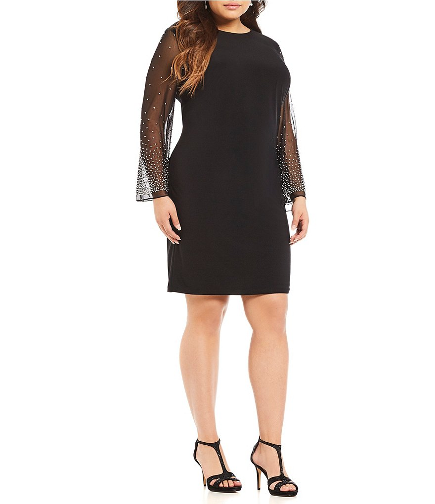 Cachet Plus Beaded Illusion Sleeve Sheath Dress