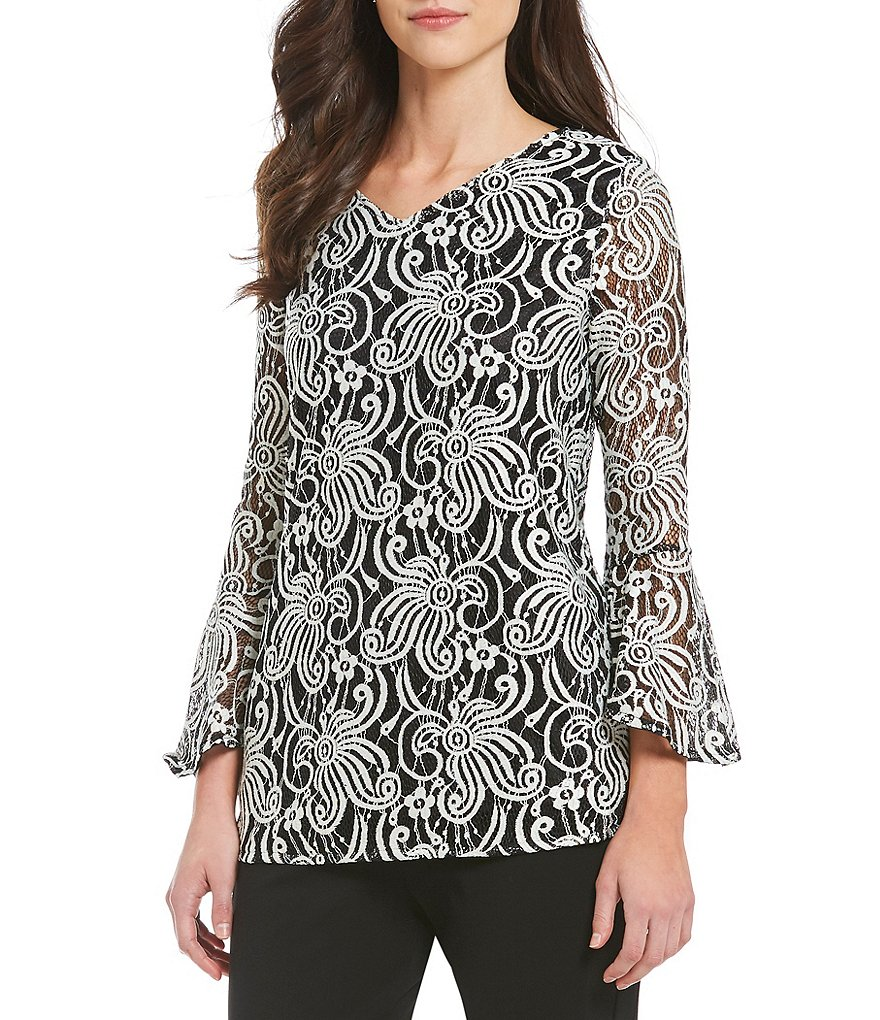 Calessa Bell Sleeve Lace Tunic