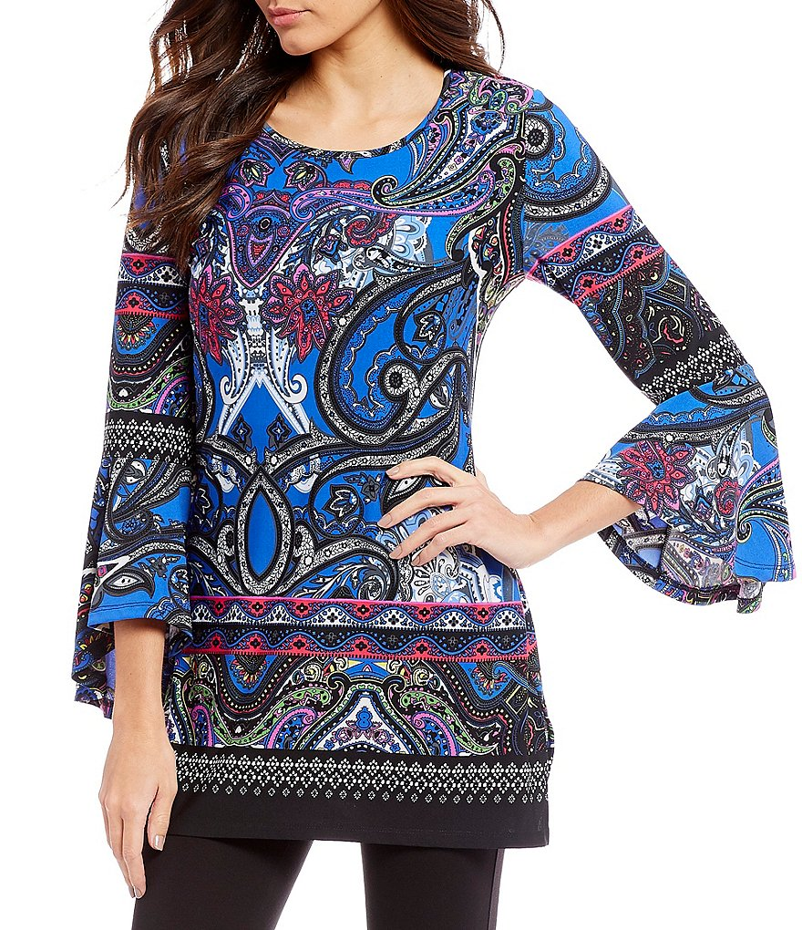 Calessa Bell Sleeve Paisley Print Tunic