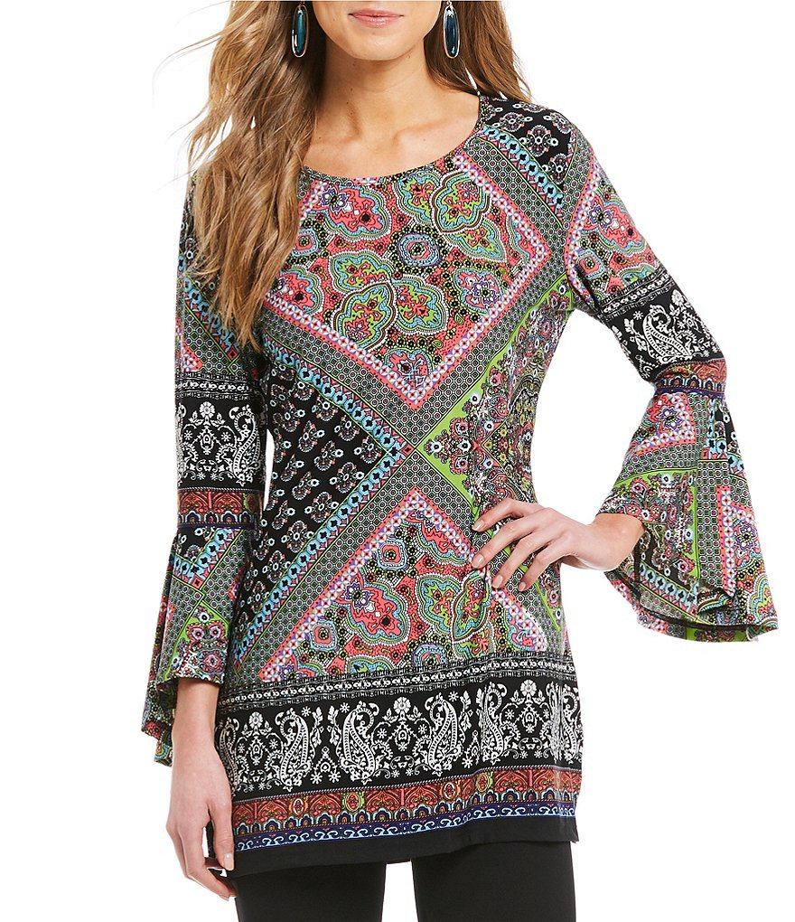 Calessa Bell Sleeve Printed Tunic