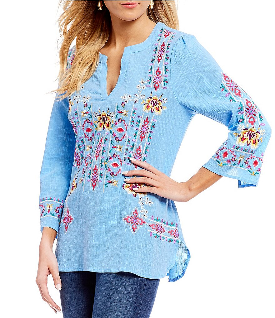 Calessa Embroidered Bell Sleeve Tunic Top