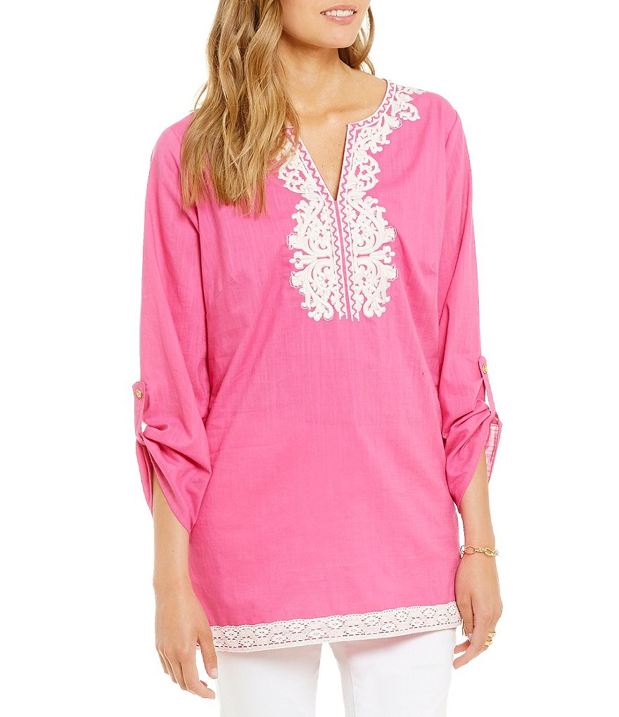 Calessa Embroidered roll-Tab Sleeve V-Neck Tunic