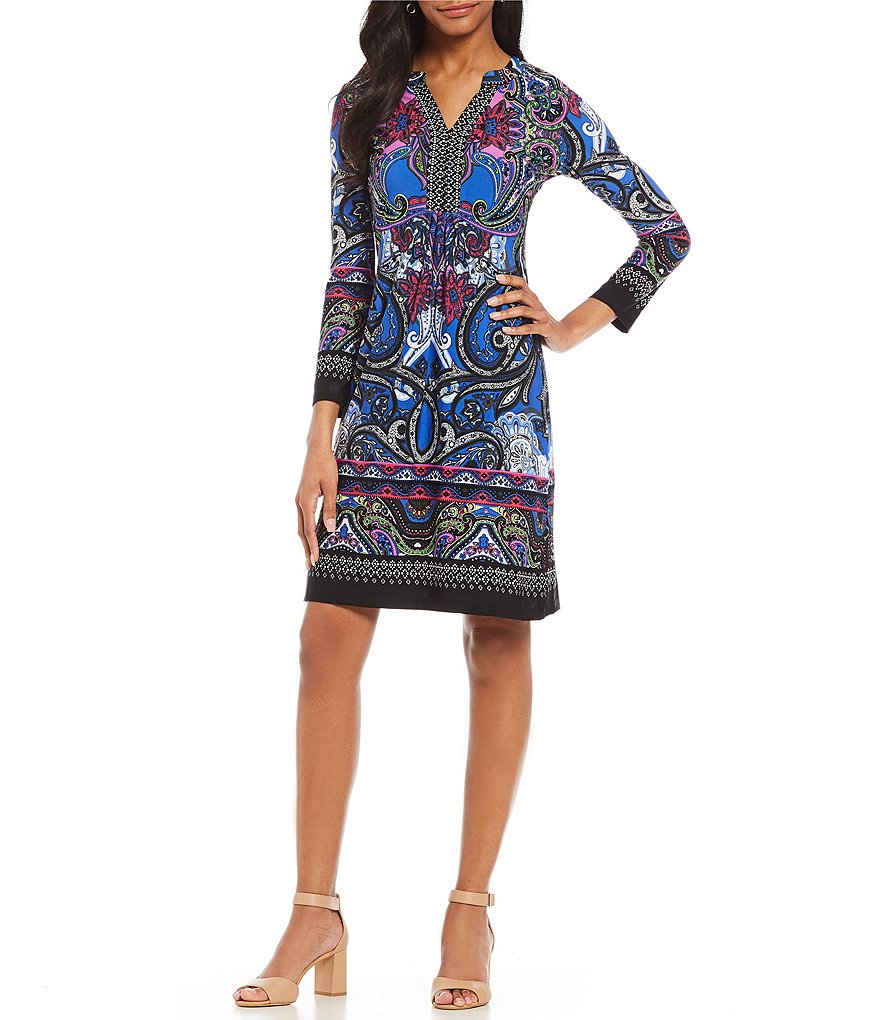 Calessa Long Sleeve Paisley-Print Dress