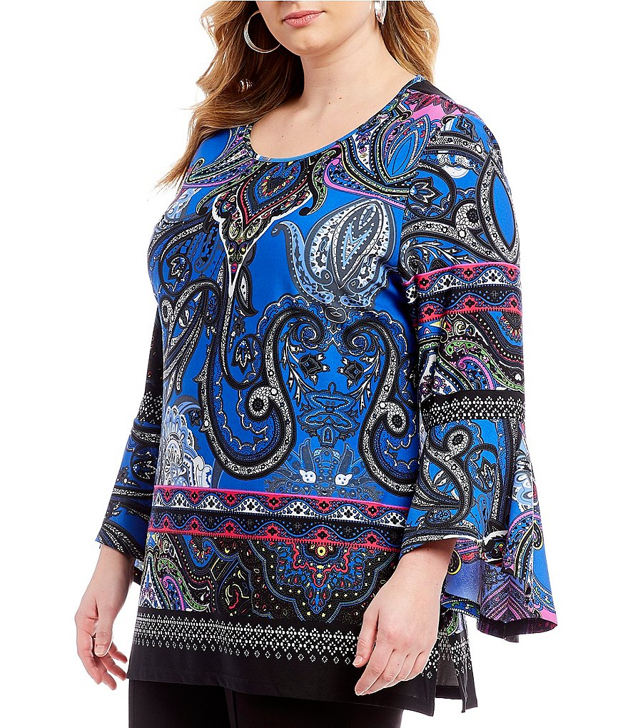Calessa Plus Bell Sleeve Paisley Tunic