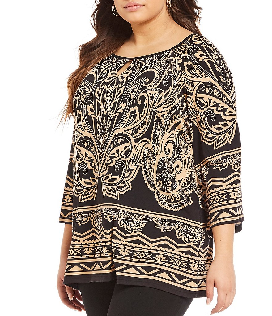 Calessa Plus Henna Print Tunic Top