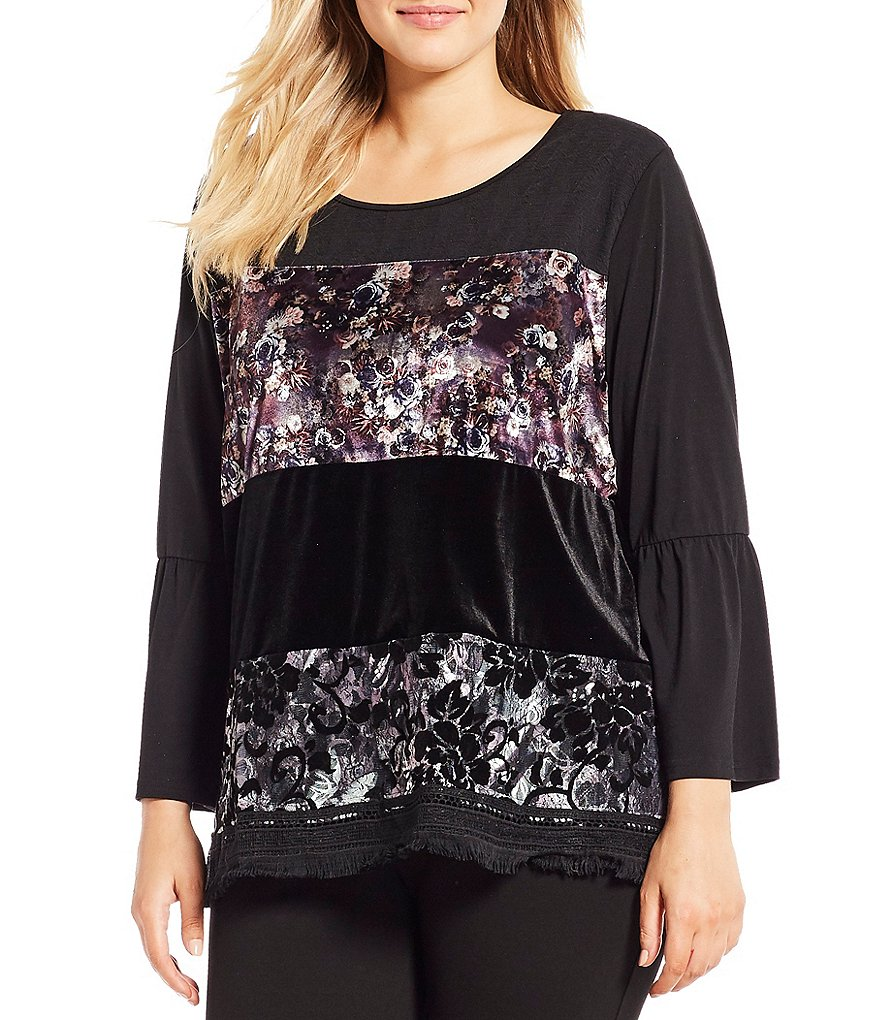 Calessa Plus Floral Wide Stripe Tunic Top