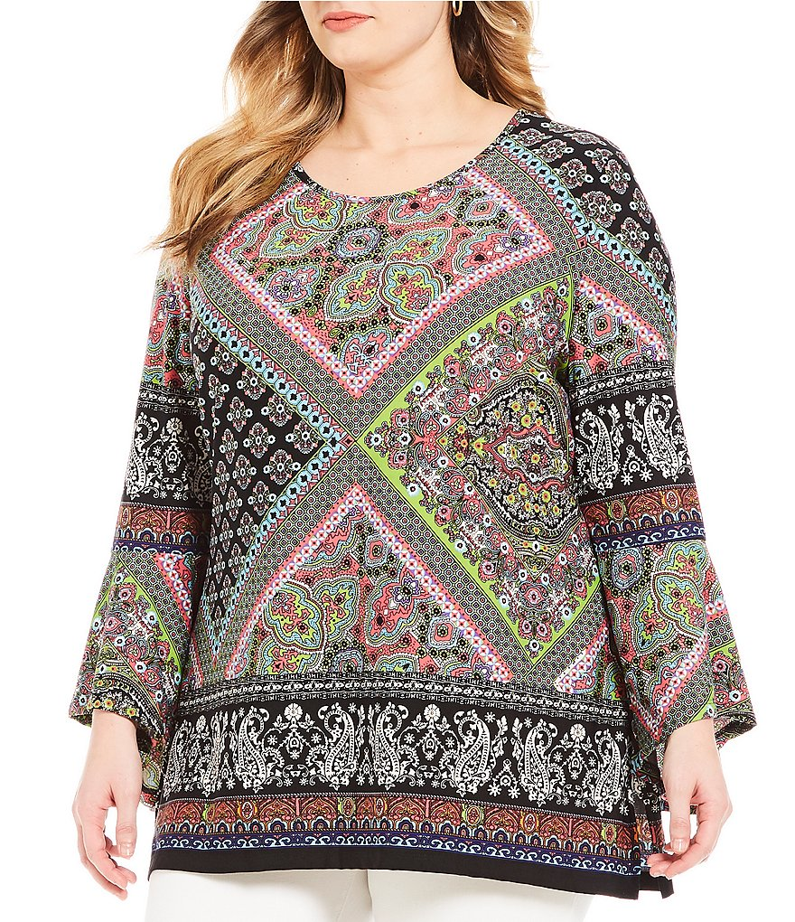 Calessa Plus Long Sleeve Border Print Tunic