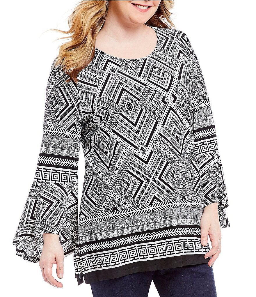 Calessa Plus Long Bell Sleeve Diamond Print Tunic